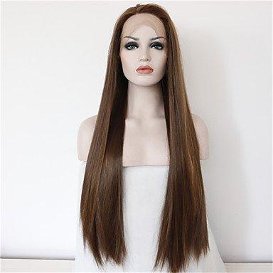 werte braune Perücke hitzebeständige synthetische Spitzefrontseitenperücken für Frauen natürliche lange braune (Preiswerte Perücken)