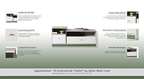 """Jugendzimmer – TV – Unterschrank """"Fabien"""" 09, Kiefer Weiß / Grün – Abmessungen: 120 x 50 x 50 cm (B x H x T) - 2"""