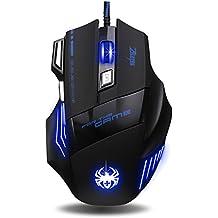 ECHTPower Zelotes, 7 Tasten LED Gaming-Maus, optisch, ergonomisch, LED, USB, 7200DPI Gaming Maus für Pro Gamer