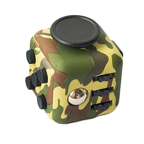 Fidget Dice Toy 6 Sides Release Stress Anxiety and Relax for Children and Adult (Green Camouflage)