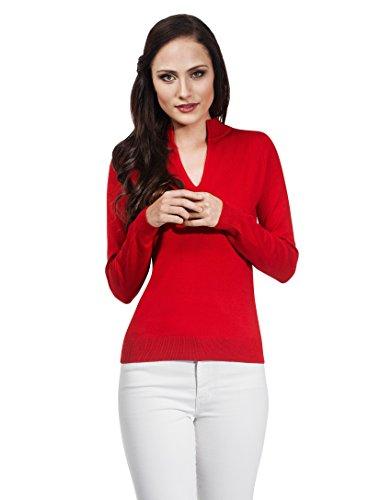 VB Pullover da donna con scollo a V e colletto alto Red Medium