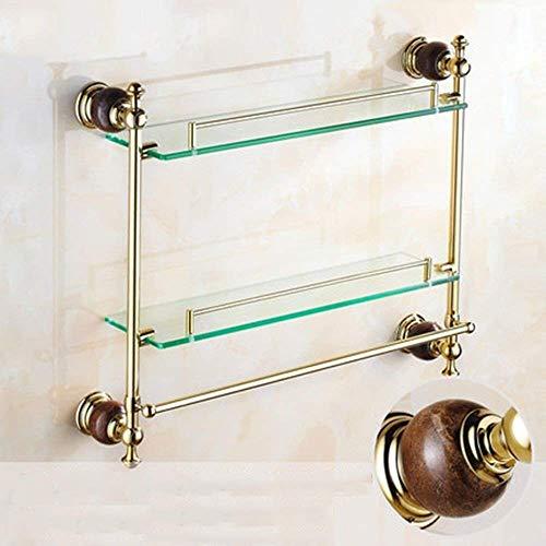 WYJW Duschspeicher Antike Doppelregale Schminktisch Mit Badhalter Goldene Jade Marmor Glas Regal Handtuchhalter Anhänger Bad Regal Glas