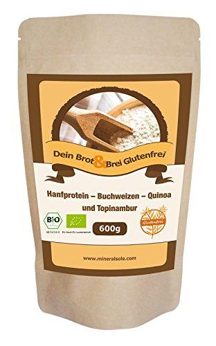 BIO Brotbackmischung I 600g I Glutenfrei I Hanfprotein I Topinambur I Quinoa I Buchweizen | VERSAND SCHNELL SICHER MIT DHL I KOSTENLOS IN DE