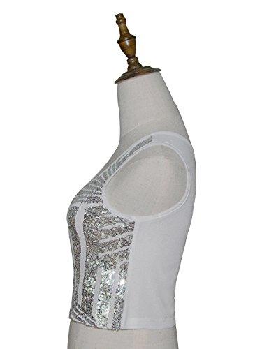 Anna-Kaci donna Spugna a righe a strisce sottili Glitter Glow lustrini canottiera Top Argento
