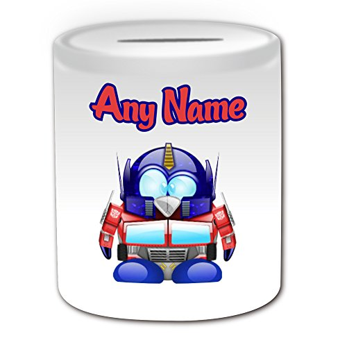 Personalisiertes Geschenk–Optimus Prime Spardose (Pinguin Film Charakter Design Thema, weiß)–Jeder Name/Nachricht auf Ihre Einzigartiges–Kostüm Film Superheld Hero Transformers Autobot Roboter Alien