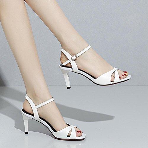Mme sandales d'été bouche de poisson les chaussures sangle mot White