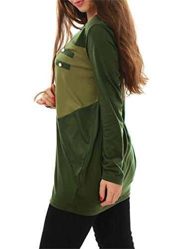 Allegra K À Manches Longues Femmes T-shirts Patchwork Haut En Vrac Long T-shirts green