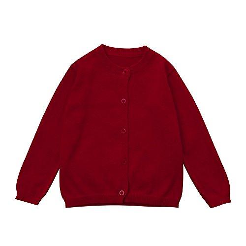 Baby Junge Kleidung Outfit, Honestyi Kleinkind Kind Jungen Mädchen Kleidung Gestrickte Bunte Feste Pullover Strickjacke Mantel Tops (Rot,90)