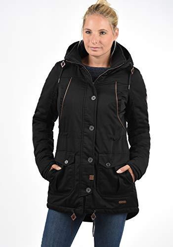 DESIRES Annabelle Damen Übergangsparka Parka Übergangsjacke Lange Jacke mit Kapuze, Größe:XS, Farbe:Black (9000) - 2