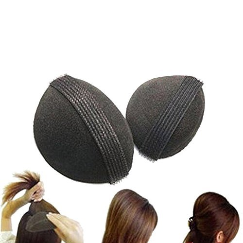 2 almohadillas esponja volumen cabello clip base pelo