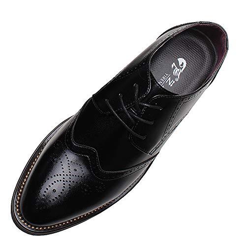 Yirenhuang uomo elegante punta pelle scarpe da sera attività commerciale nozze scarpe brogue nero p110 eu42
