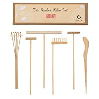 Mini Japanese Zen Garden Rake Bamboo Tool Set, Wooden Sandbox Sand Play Therapy Toy Kit, Desk Tray Miniatures Accessories for Serenity and Spiritual Peace Meditation