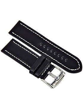 Uhrenarmband Leder Schwarz Heavy Flat Profile Naht 18-20-22-24mm Armband Band 20mm