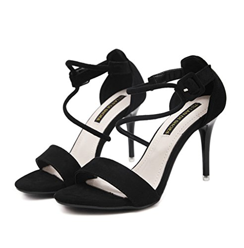 Damen Sandalen Nubukleder Schnür Peep-Toe High-Heels Elegant Rutschhemmend Atmungsaktiv Sommerlich Topaktuell Schick Stiletto Schwarz