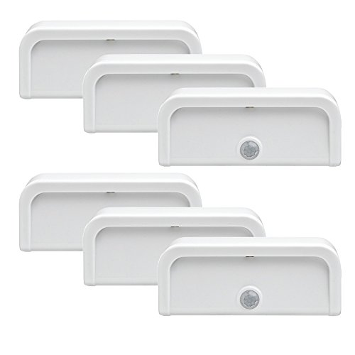 Mr. Beams MB706 Wireless Motion-Sensing Plastic Mini Stick-Anywhere LED Nightlights (Small, Pack of 6, White)