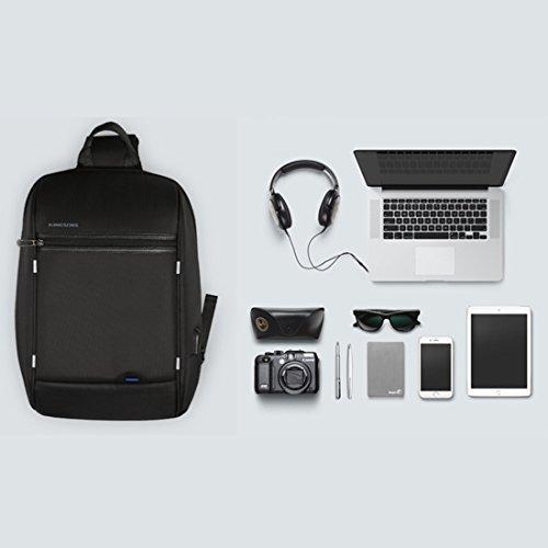 GWELL Unisex Schultertasche Crossbody Business Brusttasche mit USB Kabel und Ladeanschluss Sling Rucksack Umhängetasche Daypack für Damen und Herren schwarz schwarz