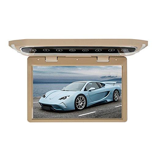 MiCarBa 12.1 pulgadas Flip Down Monitor 1080P HD TFT LCD Overhead Car TV Pantallas Ultra Thin Roof Mount Monitor HDMI SD Reproductor de MP3 MP4 con botón LED retroiluminado y luz ambiente (CL1201HD Beige)