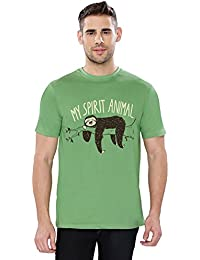 The Souled Store My Spirit Animal Lazy Printed Premium GREEN Cotton T-shirt for Men Women and Girls