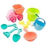 Juguetes de Playa, Foxom 10 Piezas Juguetes Playa Conjunto de Cubo de Arena Palas Rastrillo Herramientas de Agua - Color Aleatorio
