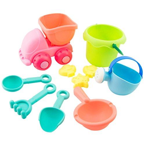 YAKOK Sandspielzeug, 10er Sandkasten Spielzeug Strandspielzeug Sand Spielzeug mit Eimer, Sandformen Schaufel für Baby, Kleinkinder, Kinder, Mädchen, Junge