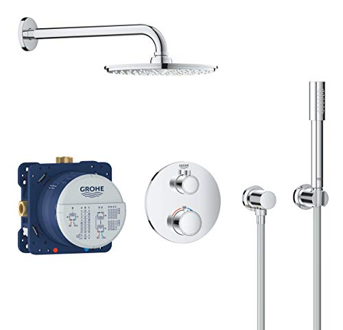 GROHE 34732000 Duschsystem Unterputz mit Rainshower Cosmopolitan 210, rundes Design, 210 mm