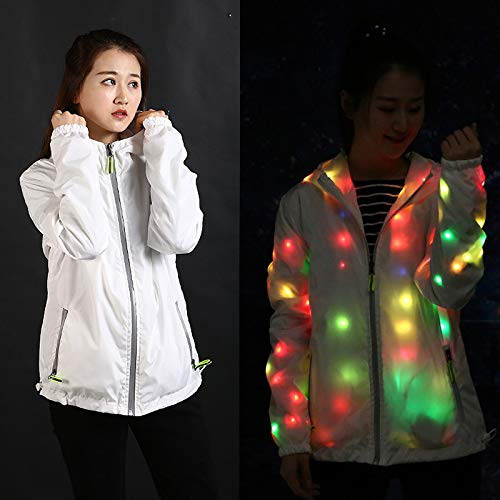 Dastrues Women Men Waterproof LED Glowing Jackets Coat Hooded Costume Light Up for Party