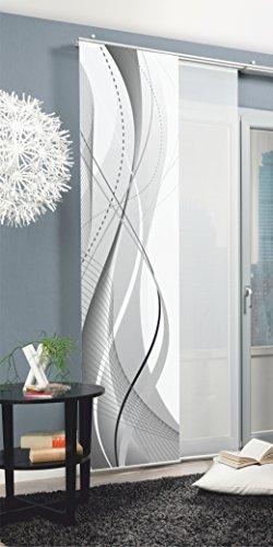 Home Fashion Carlisle Schiebevorhang, Polyester, Grau, 245X60 cm