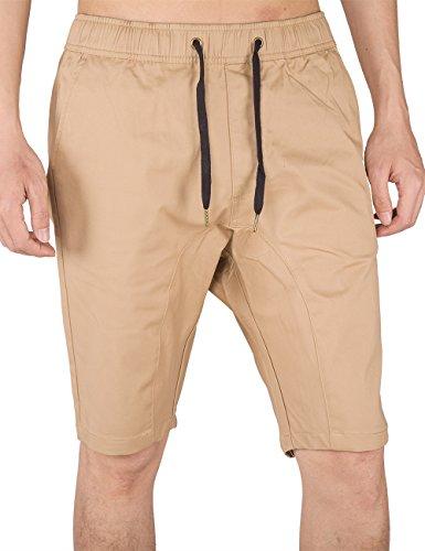 ITALY MORN Herren Kurze Hose Chino Jogger Shorts Casual Jogging Sweatshorts Sommerhose Sport Baumwolle Loose Sweathose Training Walkshorts Schwarz Caqui