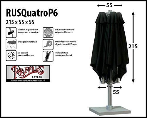 RUSQuatroP6 Abdeckung für P6 Terrasse Sonnenschirm mit 4 Bespannungen H: 215 Abdeckhauben für sonnenschirm, Schutzhülle Ampelschirm, Abdeckhaube Sonnenschirm