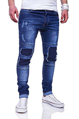 MT Styles Biker Jeans Slim Fit Hose RJ-3203 [Blau, W32/L32]