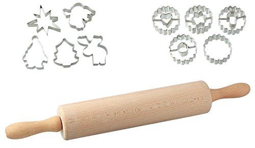 Dr. Oetker Ausstecherset Leckere Weihnachtsplätzchen und Kekse für die kalte Jahreszeit, Teigroller aus Holz mit Ausstechformen aus Edelstahl und Linzer Ausstecher, Menge: 1 x 3er Set