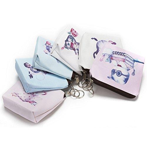 sevenmye 1Stück Mini Cute Cat Reißverschluss Pocket Coin Geldbörse Tasche Schlüssel Tasche style 2 5Teile