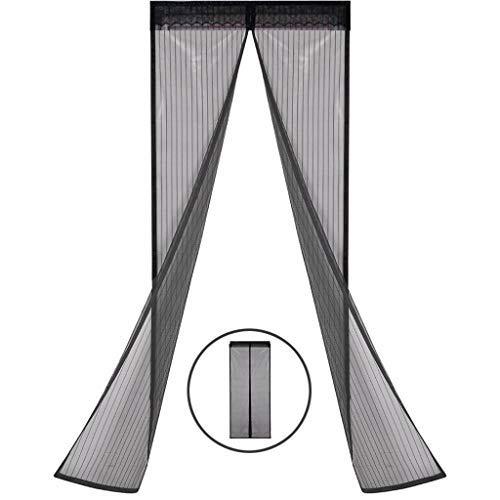 Ysa porta schermo magnetica nera, chiusura automatica, tenda in rete resistente, zanzariera magnetica, nastro adesivo full frame, per balcone scorrevole soggiorno - 43x98 pollici (110x253 cm)