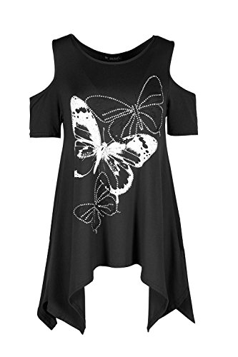 Oops Outlet Womens Floral Rose Butterfly Glitter Studded Ladies Cold Shoulder Hanky Hem Baggy Oversized Top