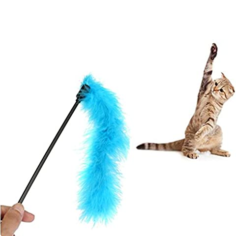 VENMO Kitten 1PC Feather Teaser Interactive Stick Toy for Cat and Kitten, Wire Chaser Wand Fun Toys with Bell Dangle Rod Toy (Color