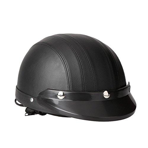 KKmoon Motorrad Scooter gesichtsoffen halbe Leder Helm mit Visier UV-Schutzbrillen Retro Vintage-Stil 54-60cm(Schwarz) - 3