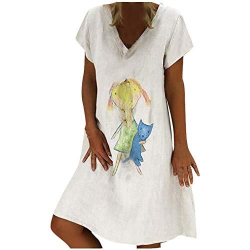 Sommerkleid Damen Neu V-Ausschnitt Boho Kleid Einfarbig Strandkleider A-Linie Kleid Leinen Knielang Lässig T-Shirt Kleider Minikleid Kurzarm Blusenkleid ()