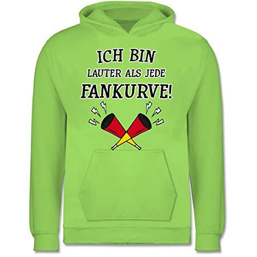 Shirtracer Fußball-Europameisterschaft 2020 Kinder - Ich Bin lauter als Jede Fankurve Deutschland WM - 12-13 Jahre (152) - Limonengrün - JH001K - Kinder Hoodie