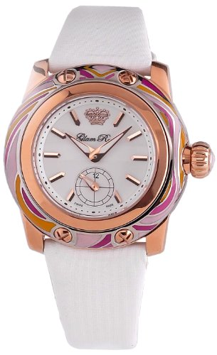 Glam Rock GR40500 - Reloj analógico de cuarzo para mujer con correa de tela, color blanco