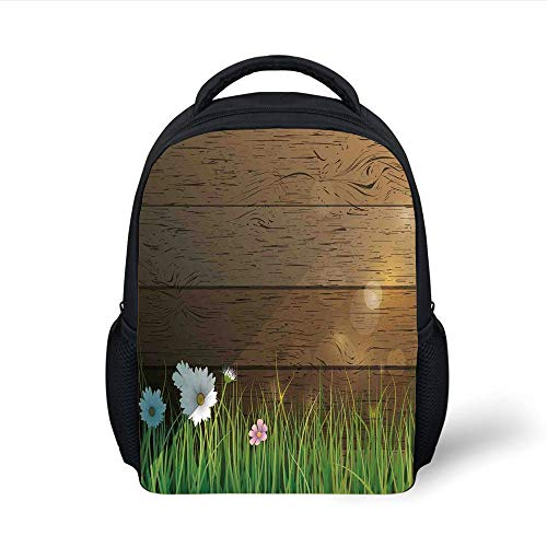 Kids School Backpack Watercolor Flower Home Decor,Daisy Field in Front of Wooden Fence Sunny Lush Foliage Theme,Green Brown Plain Bookbag Travel Daypack