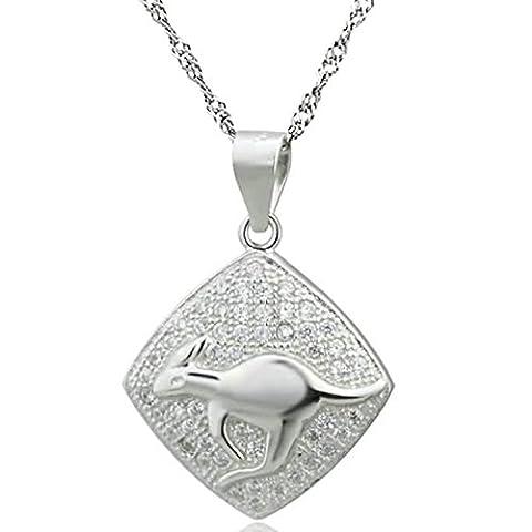 Epinki Women Girls 925 Sterling Silver Necklace Cubic Zirconia Rhombic Engraved Kangaroo White