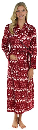 Frankie & Johnny Langer Vlies Bademantel Morgenmantel für Damen, Cranberry Winter-L (Fleece Robe Gemütliche)