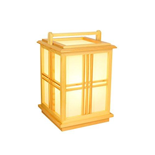 Lampe de table en bois de style rétro de style japonais rétro abat-jour carré de parchemin d'imitation lampe de plancher portative de chambre à coucher de salon salle à manger de pièce d'hôtel E27