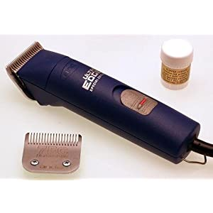 Andis AGCB Brushless Super 2 speed Dog Grooming Clipper in blue with size 10 & 7FC blades and FREE grease 17