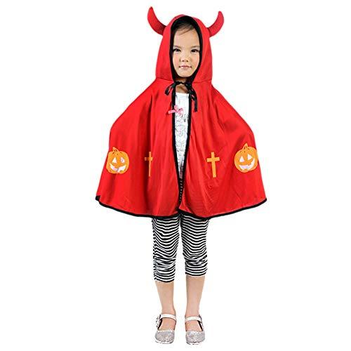 Blaward bambini halloween costum 3d, incappucciato mantello da diavoletto per bambino, zucca halloween abiti da partito per ragazzi e ragazza