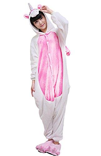 er Onesize Karton Schlafanzug Fasching Halloween Kostüm Sleepsuit Cosplay Fleece-Overall Pyjama Erwachsene (L, Pink Einhorn) (Pink-halloween-kostüme Für Erwachsene)