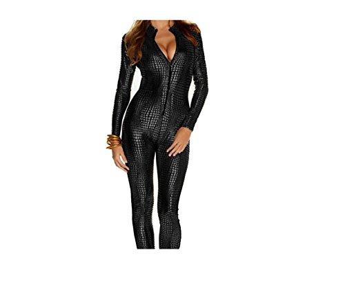 Frauen-glänzender Catsuit Snakeskin Muster Unitard Faux-lederner Overall Catwoman Cosplay Dame-Mädchen-Abendkleid-Spielanzug Sexy Partei Clubwear (X-Large, Gold) (Catwoman Halloween Kostüme Kinder)