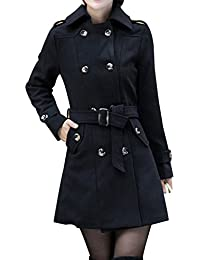 Yasong Women Ladies Girls Double Breasted Slim Fitted Faux Wool Coat Trench Belted Coat Peacoat Outerwear