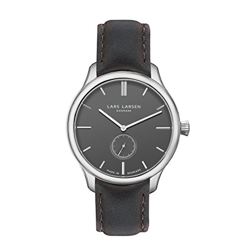Lars Larsen LW22 Men's Quartz Watch with Grey Dial Analogue Display and Black Stainless Steel Strap 122SGBLL