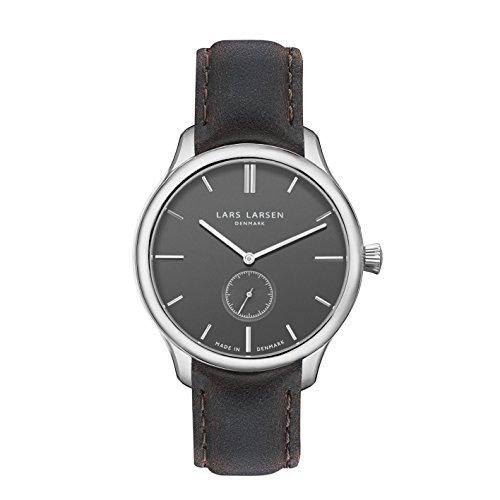 Lars Larsen LW22 da uomo orologio da donna con inserti grigi Display analogico e in acciaio inox cinghia 122SGBLL